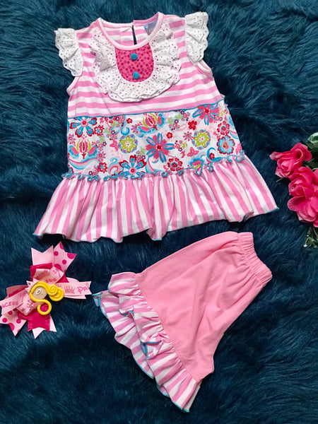 Three Sisters Spring Hot Pink and Stripped Ruffle Shorts Set CL - JEN'S KIDS BOUTIQUE