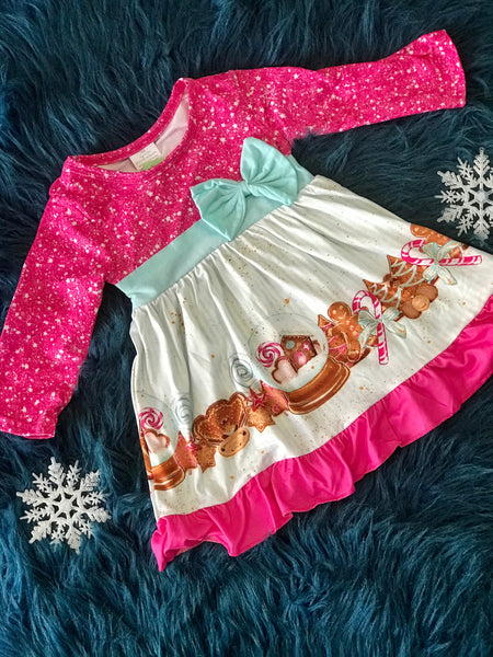 2018 Christmas In Pink Snow Globe & Ginger Bread Bow Dress - JEN'S KIDS BOUTIQUE