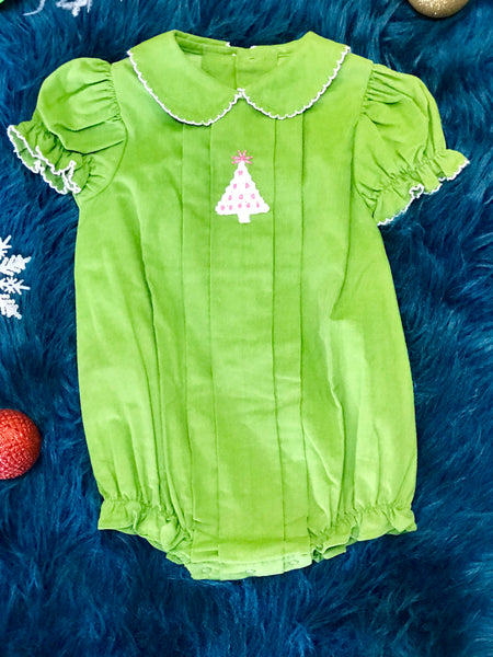 Zuccini Adorable Christmas Girls Tree Infant Bubble Romper - JEN'S KIDS BOUTIQUE
