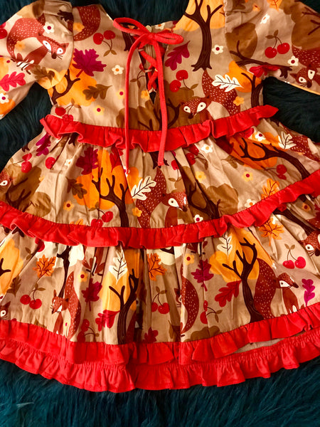 Fall Fun Fox Print Tiered Peasant Dress - JEN'S KIDS BOUTIQUE