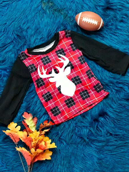 New Fall Boys Red & Black Shadow Deer Shirt - JEN'S KIDS BOUTIQUE