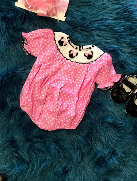 Spring Adorable Smocked Minnie Bubble - JEN'S KIDS BOUTIQUE