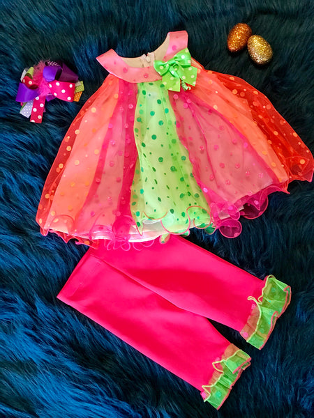 Spring Perfect Adorable Hot Pink/ Orange/ Lime Dress - JEN'S KIDS BOUTIQUE