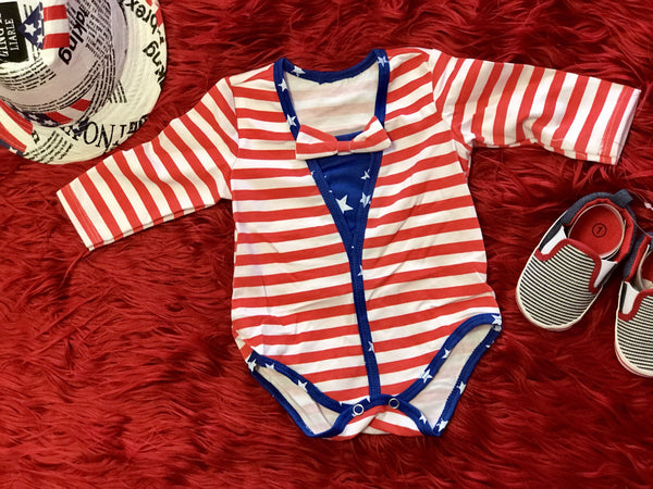 Summer Boys Stripped Red 4th Of July Romper - JEN'S KIDS BOUTIQUE