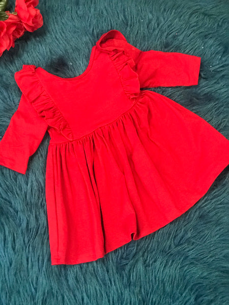 New Fall & Holiday Spruce Red Ruffle Twirl Dress - JEN'S KIDS BOUTIQUE