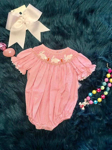 Three Sisters Sweet Baby Pink Bunny Easter Romper - JEN'S KIDS BOUTIQUE