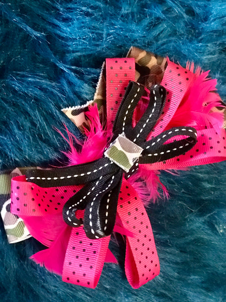 Adorable Hot Pink & Black Camo Hair Bow - JEN'S KIDS BOUTIQUE