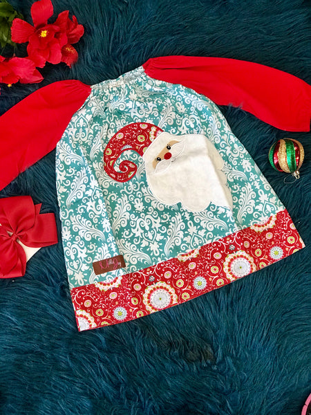 New Christmas Millie Jay Santa Applique L/S Dress C CH - JEN'S KIDS BOUTIQUE