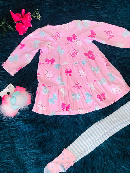 Pink Bow Dress w/ Blue & White Stripped Footie Leggings - JEN'S KIDS BOUTIQUE