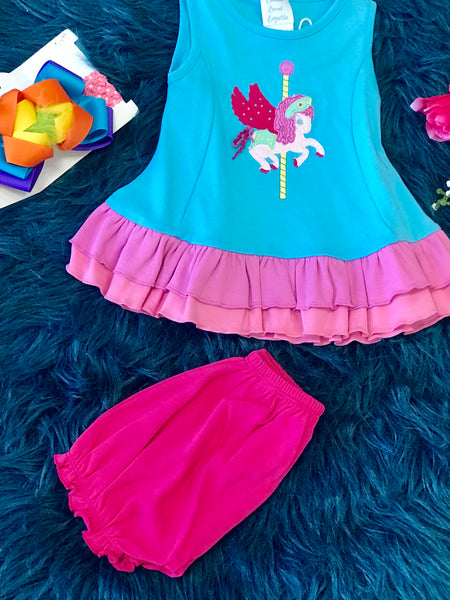 Spring Lemon Loves Lime Pegasus Ride Dress Set - JEN'S KIDS BOUTIQUE