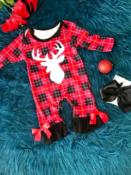 New Fall Girls  Red & Black Shadow Deer Infant Bow Romper - JEN'S KIDS BOUTIQUE
