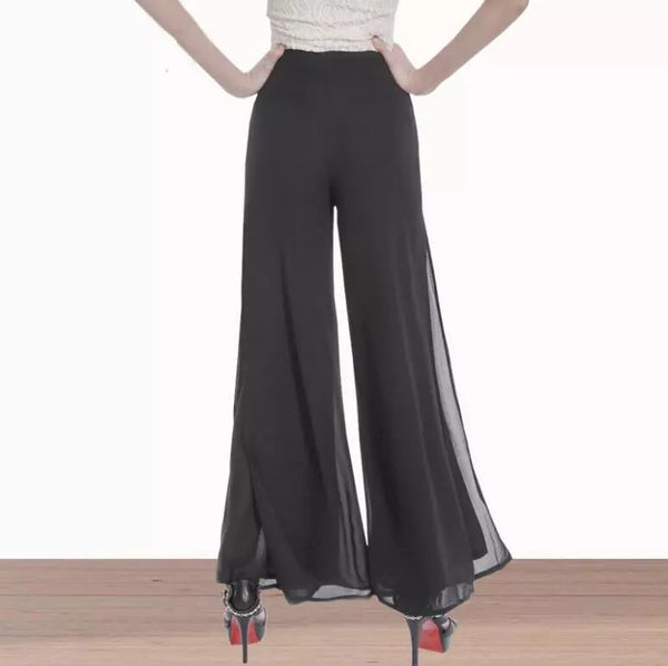Spring & Summer Women's Wide Leg Pants High Waist Double Chiffon Loose Soft Pants Bell Bottom Pants - JEN'S KIDS BOUTIQUE