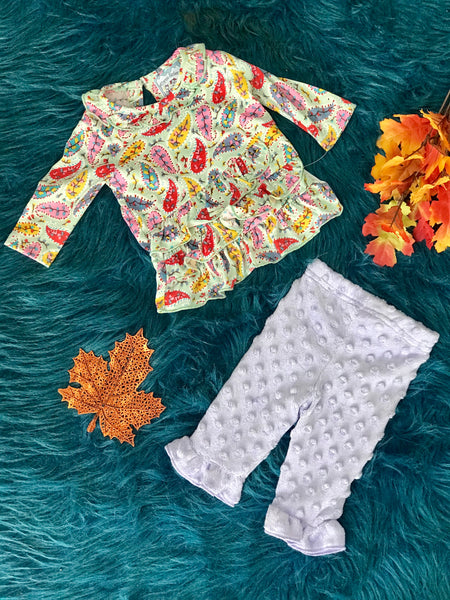 New Fall Paisley Minky Dot Legging Two Piece Set - JEN'S KIDS BOUTIQUE