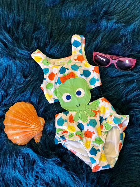 Le Top Summer Cut Out Octopus One Piece Swimsuit - JEN'S KIDS BOUTIQUE
