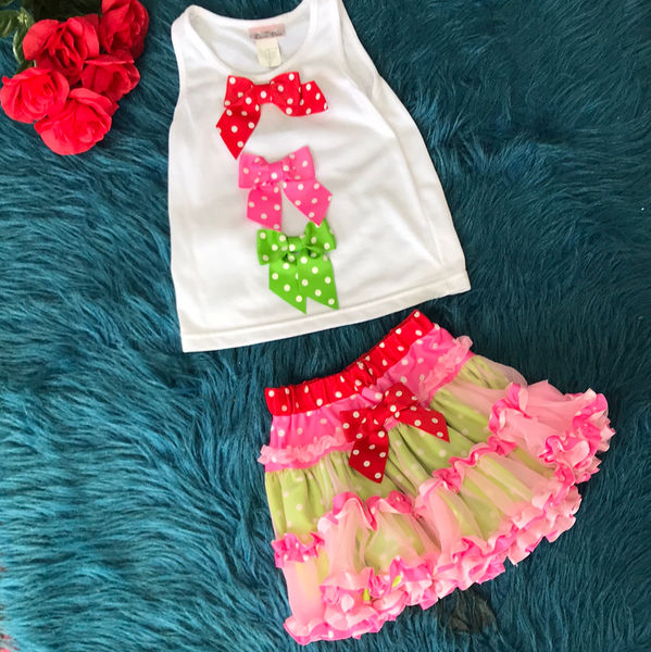 Laura Dare Red Pink & Green Bow Tutu Set CLS