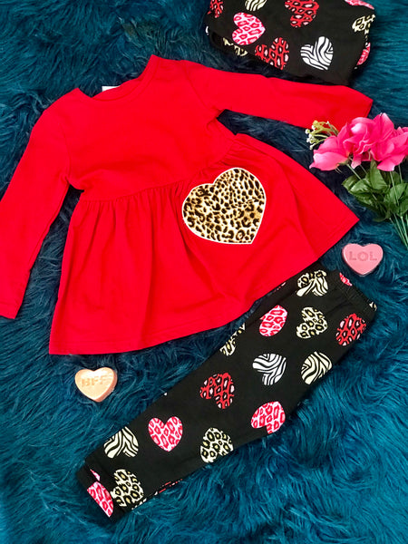 Valentines Cheetah Heart Scarf Pants Set - JEN'S KIDS BOUTIQUE