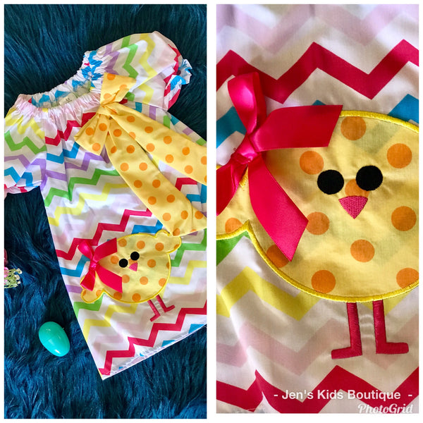 Princess Colorful Easter Chevron Chick Dress - JEN'S KIDS BOUTIQUE