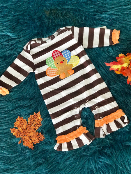 New Fall Thanksgiving Three Sisters Turkey Ruffle Romper - JEN'S KIDS BOUTIQUE