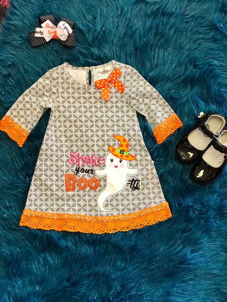 2018 Halloween Gray Geo Print Halloween Ghost Dress - JEN'S KIDS BOUTIQUE