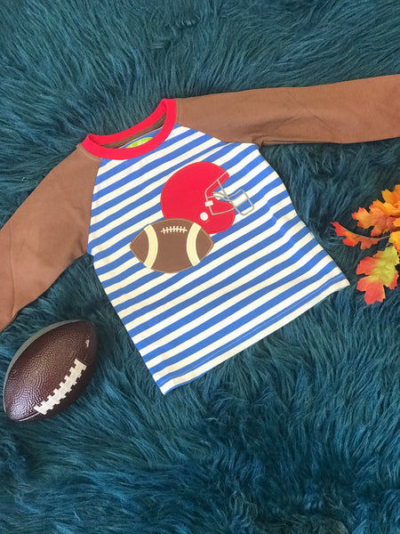 New Fall Be Mine Boys Blue Stripped Applique Football Shirt - JEN'S KIDS BOUTIQUE