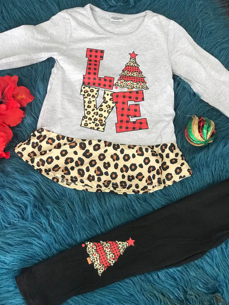 New Christmas Girls Love Leopard Gray Top With Black Pants Set C - JEN'S KIDS BOUTIQUE