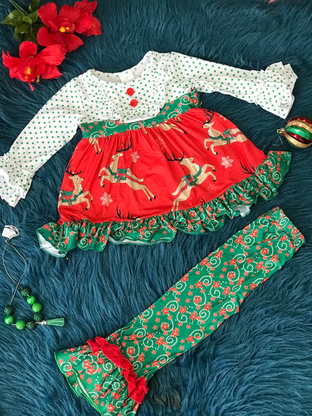 New Christmas Magical Reindeer Mixed Pant Set - JEN'S KIDS BOUTIQUE