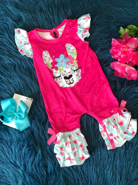 Summer Sweet Pink Lama Romper - JEN'S KIDS BOUTIQUE