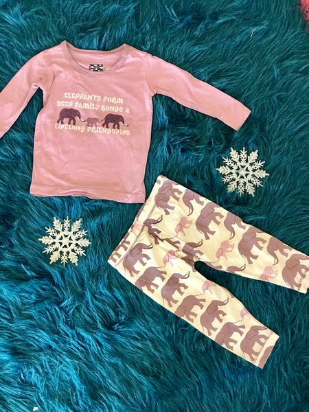 2018 Fall Kickee Pants Long Sleeve Natural elephants Pajama Set - JEN'S KIDS BOUTIQUE