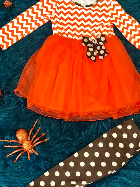 Molly & Millie By Peaches N Cream Fall Chevron Tutu Pant Set HCL - JEN'S KIDS BOUTIQUE