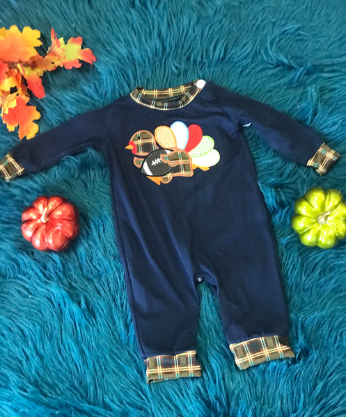 Fall Thanksgiving Navy & Plaid Turkey Foot Ball Infant Boys Romper - JEN'S KIDS BOUTIQUE
