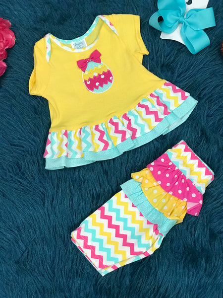 Peaches & Cream Easter Yellow Chevron Egg Infant Capri Set ECL - JEN'S KIDS BOUTIQUE