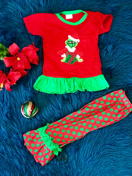 New Christmas Girls The Grinch Short Sleeve Ruffle Legging Set - JEN'S KIDS BOUTIQUE