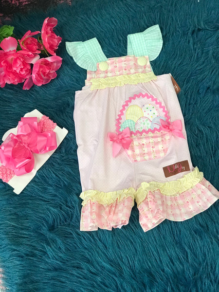 Millie Jay Easter Eggs In A Basket Infant Romper - JEN'S KIDS BOUTIQUE