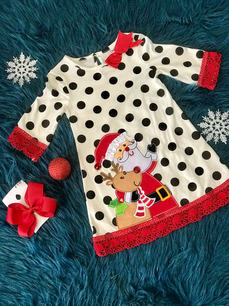 Rare Editions Counting Daisies Santa and Reindeer Dress - JEN'S KIDS BOUTIQUE