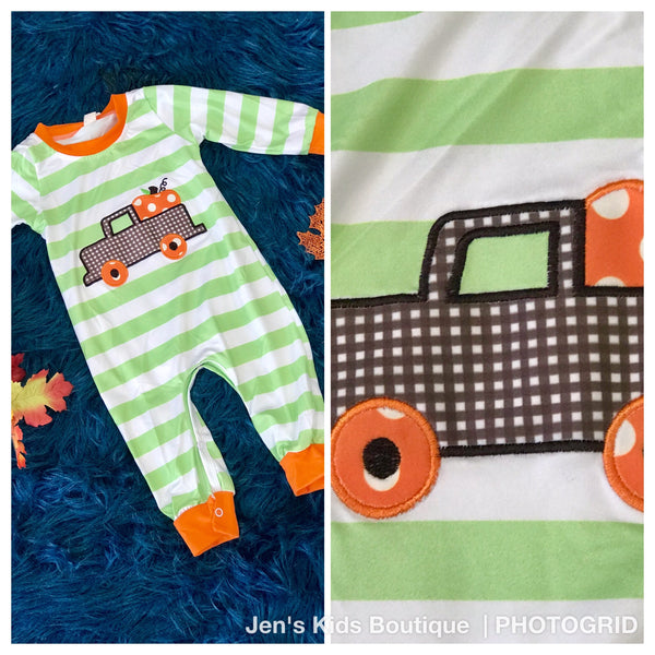 New Fall Boys Pumpkin Patch Stripped Thanksgiving Infant Bodysuit - JEN'S KIDS BOUTIQUE