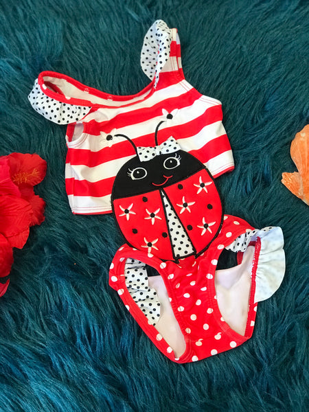 Summer Fun Ruffle One Piece Lady Bug Bikini Swimsuit - JEN'S KIDS BOUTIQUE