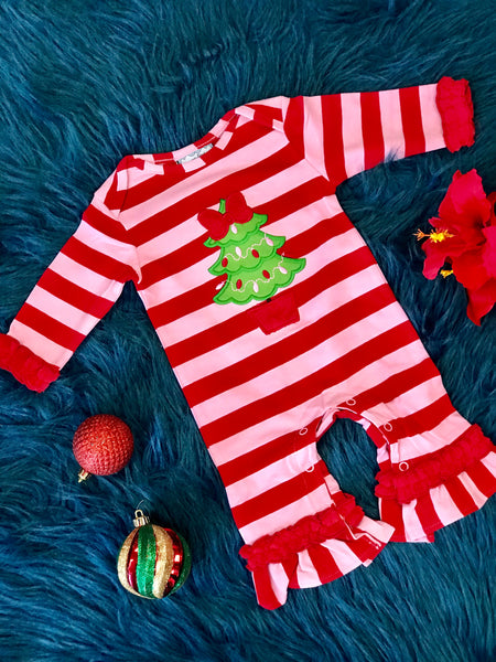 New Christmas Three Sisters O Christmas Tree Applique Nit Romper - JEN'S KIDS BOUTIQUE