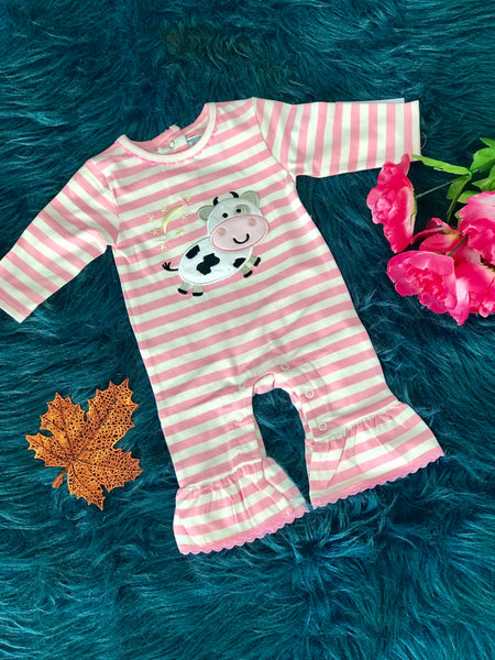 New Fall Three Sisters  Cow Jumped Over The Moon Ruffle Romper - JEN'S KIDS BOUTIQUE