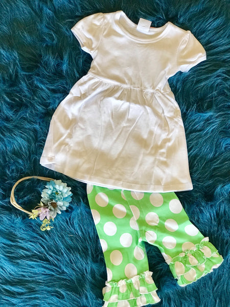 2018 Spring Lime & White Polka Dot Cotton Capri Ruffle Pants