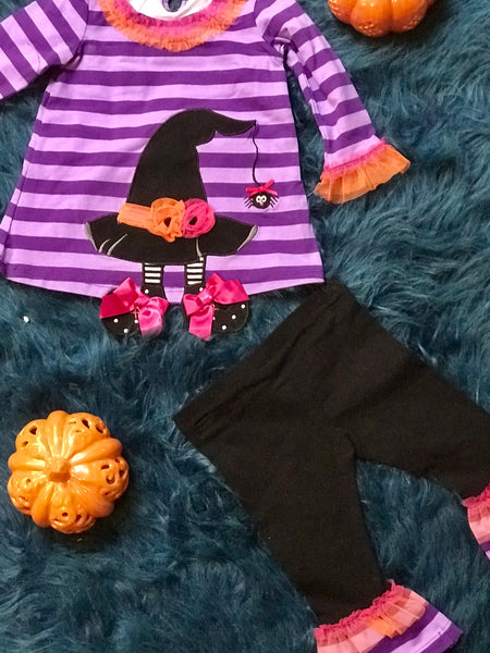 Bonnie Baby Halloween Purple/Striped Witches Hat/Foot Pant Set - JEN'S KIDS BOUTIQUE