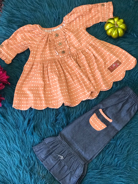 Millie Jay New Fall Chambray Denim & Nutmeg Scalloped Top & Pocket Pants - JEN'S KIDS BOUTIQUE