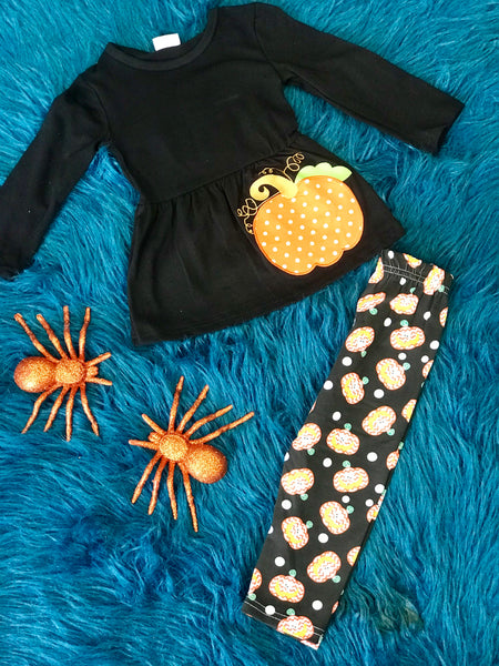 Fall Polka Dot Pumpkin Legging Set - JEN'S KIDS BOUTIQUE