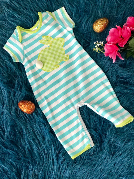 Boys N Berries boys Stripped Easter Bunny Romper - JEN'S KIDS BOUTIQUE