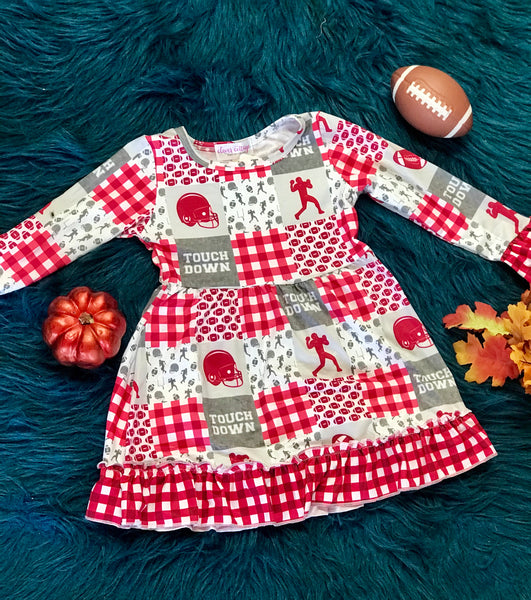 New Fall Red Crimsom Football Long Sleeve Dress - JEN'S KIDS BOUTIQUE
