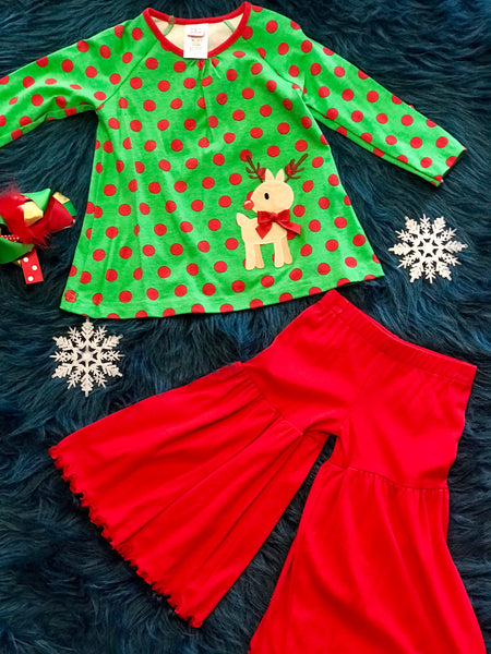 Molly & Millie Christmas Red/Green Polkadot Reindeer Pant Set. CH - JEN'S KIDS BOUTIQUE