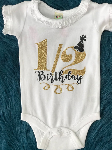 1/2 Birthday White Onesie Black & Gold - JEN'S KIDS BOUTIQUE