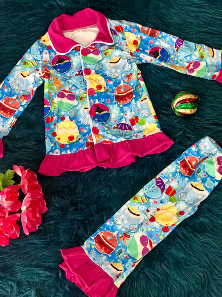 New Holiday Princess Button Down Christmas Pajamas - JEN'S KIDS BOUTIQUE