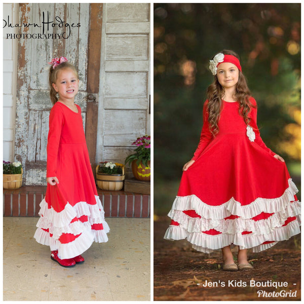 2018 Fall Valentines Serendipity Red Maxi Twirl Dress With Ruffles - JEN'S KIDS BOUTIQUE