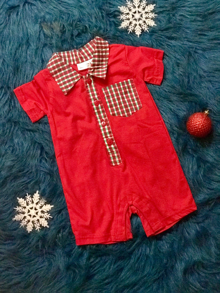 2018 KoKo-Nut Milk Boys Holiday Red & Plain Romper - JEN'S KIDS BOUTIQUE