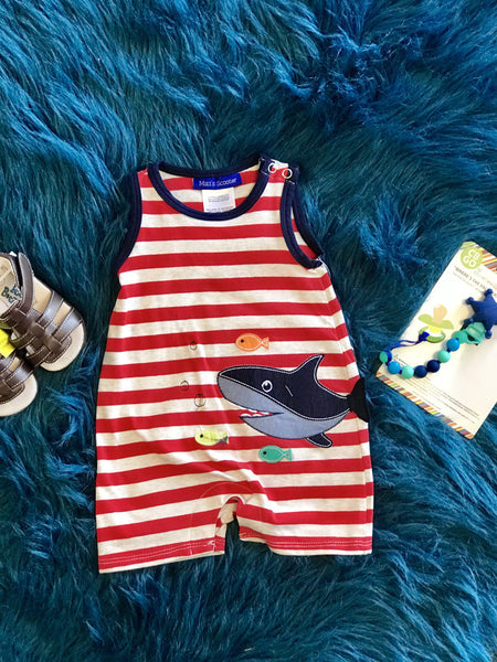 2018 Summer Boys Fun Shark Infant Romper - JEN'S KIDS BOUTIQUE